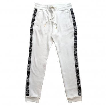 Versace Jeans Couture White Jogging Bottoms with Black Logo Piping