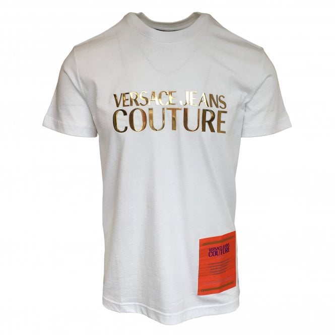 Versace Jeans Couture White T-Shirt with Gold Logo