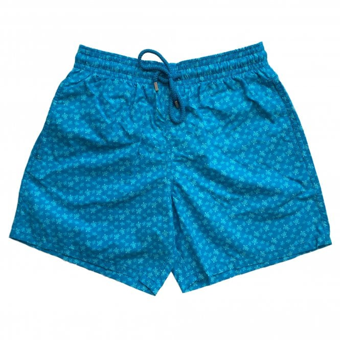 Vilebrequin Blue Swimming Shorts with Blue Turtle Pattern