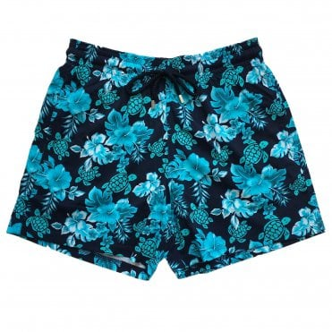 Vilebrequin Navy Swimming Shorts with Blue Turtle Pattern