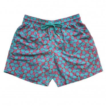 Vilebrequin Pink & Turquoise Turtle Pattern Swimming Shorts