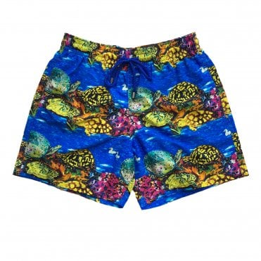 Vilebrequin Royal Blue Swimming Shorts with Turtle Print