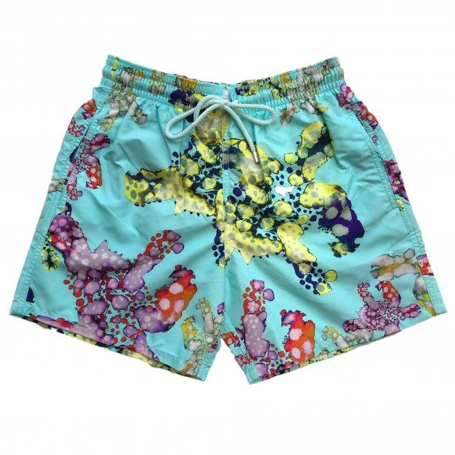 Vilebrequin Turquoise Swimming Shorts with Watercolour Turtle Pattern